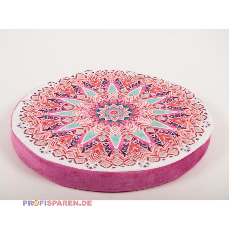Sitzkissen Mandala Rund 40cm Schaumstoffkern Farbe Pink Bunt 6 99