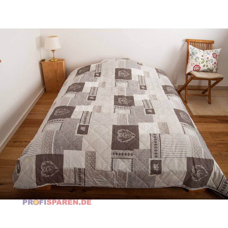 tagesdecke roma braun grau mit aufwendig verarbeiteter. Black Bedroom Furniture Sets. Home Design Ideas