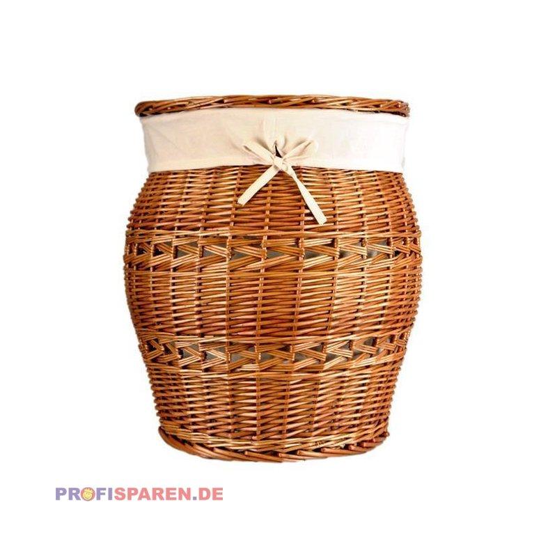 Wu00e4schekorb Vollweide Natur Bauchige Form Mit Baumwolleinsatz - Wu00e4sc