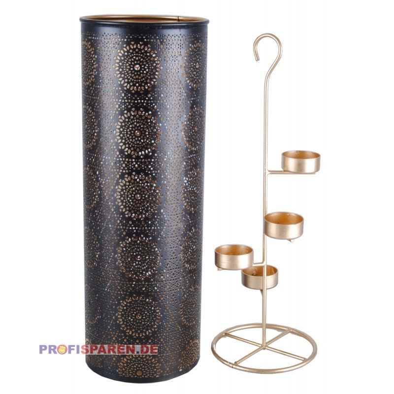 windlicht marrakesch schwarz gold 13x13x37 5cm 19 99. Black Bedroom Furniture Sets. Home Design Ideas