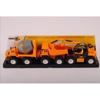Baufahrzeuge 3tlg. Baustellen-Set