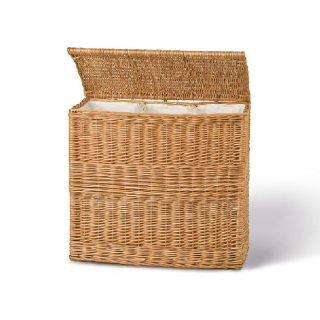 Wäschetruhe aus Vollweide mit 3 Fächern und Innenfutter