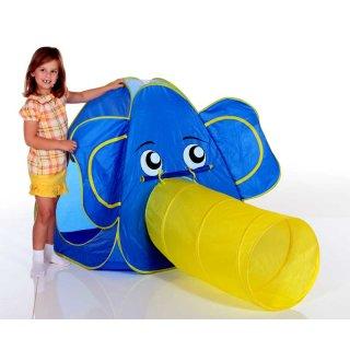 Pop Up Kinderspielzelt Elefant von Royalbeach mit Krabbeltunnel, Indoor, Outdoor