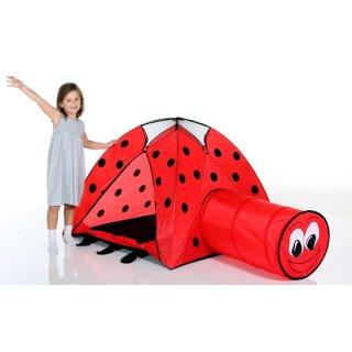 Pop Up Kinderspielzelt Marienkäfer von Royalbeach mit Krabbeltunnel, Indoor, Outdoor