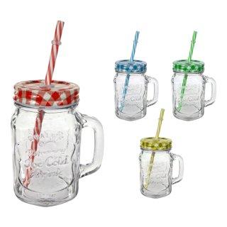 """Trinkglas mit Henkel und Trinkhalm """"Karo"""" 450ml"""