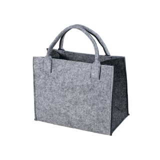 Filztasche grau-dunkelgrau Einkaufstasche Einkaufsshopper Freizeittasche 35x20cm Höhe 30/43cm