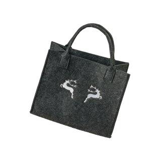 Filztasche mit HIRSCH-Stickerei, Einkaufstasche Freizeittasche Farbe: dunkelgrau