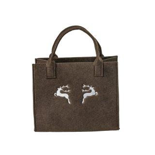 Filztasche mit HIRSCH-Stickerei, Einkaufstasche Freizeittasche Farbe:dunkelbraun