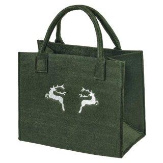Filztasche mit HIRSCH-Stickerei, Einkaufstasche Freizeittasche Farbe:dunkelgrün