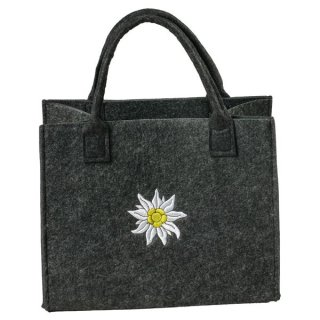 Filztasche dunkelgrau mit Edelweiß Stickerei Einkaufstasche Einkaufsshopper Freizeittasche 35x20cm Höhe 30/43cm