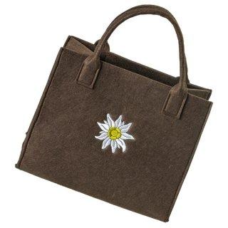 Filztasche braun mit Edelweiß Stickerei Einkaufstasche Einkaufsshopper Freizeittasche 35x20cm Höhe 30/43cm