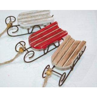 Schlitten aus Metall mit Holzsitz 12x4x3,5cm