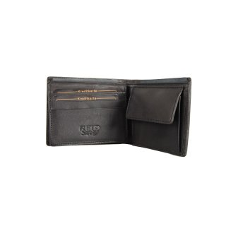 Herren Lederbörse, schwarz - Querformat klein RFID-Safe