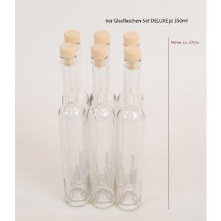 """6er Glasflaschen """"DeLuxe"""" mit Holzstopfen, 350ml zum Abfüllen von Selbstgemachtem - Saftflaschen - Likörflaschen"""