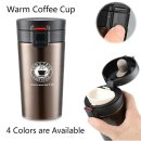 MAJUCA-Edelstahl-Thermobecher, ca. 350ml, Coffee-To-Go mit Trink-Verschluss-Manschette, Sieb-Einsatz für Tee