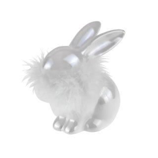 Hasen mit Federboa 2er Set, Porzellan und in 2 Größen erhältlich