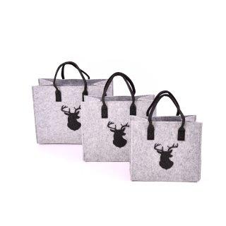 Filztaschen mit Hirschkopf 3 Größen