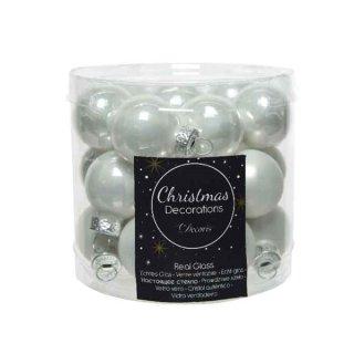 24er Mini-Glaskugeln 25mm matt/glänz. winterweiss