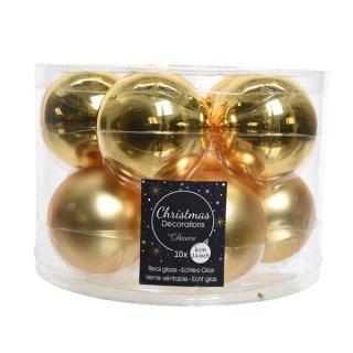 10er Glaskugeln uni glanz/matt 60mm gold
