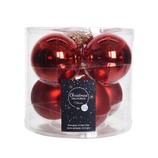 6er Glaskugeln uni matt/glänz. 80mm weihnachtsrot