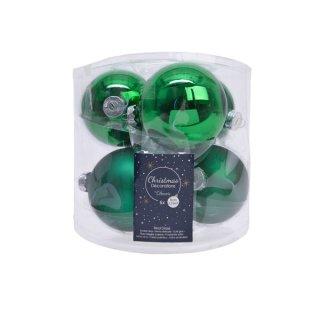 6er Glaskugeln uni matt/glänz. 80mm ilex-grün