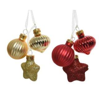 3er Glas-Ornamente Bündel gold/rot
