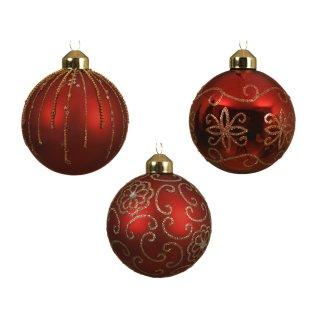 Glaskugel 80mm dekoriert weihnachtsrot