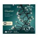 768-LED Cluster-Kette  Timer/Dimmer 600cm schwarz/warmweiss