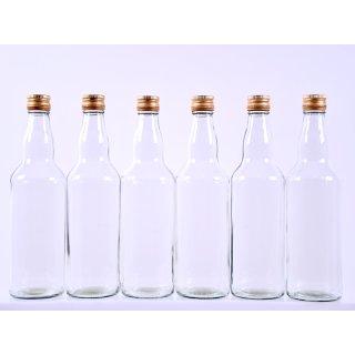 6er Glasflasche 500ml mit Schraubverschluss gold