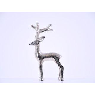 Hirsch Metall silber 15,5 x 7 x 27,5 cm