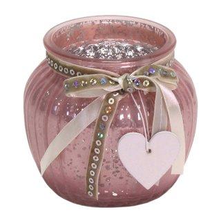 Windlicht mit Holzherz rosa Glas 11,5x10,5 cm