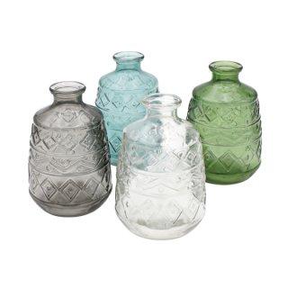 Dekoflasche Glas 11x15cm 4-fach sort