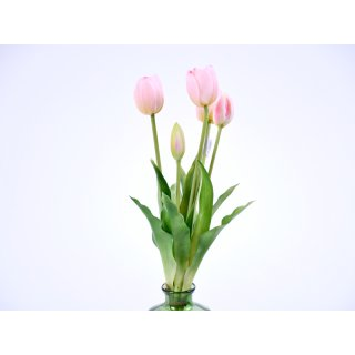 5er Tulpen-Strauß Real-Touch 40cm rose