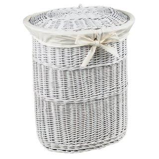 Wäschepuff oval aus Vollweide weiß